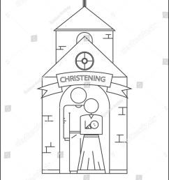 parents and baptism of the child godfather and godmother vector image outline style  [ 1073 x 1600 Pixel ]