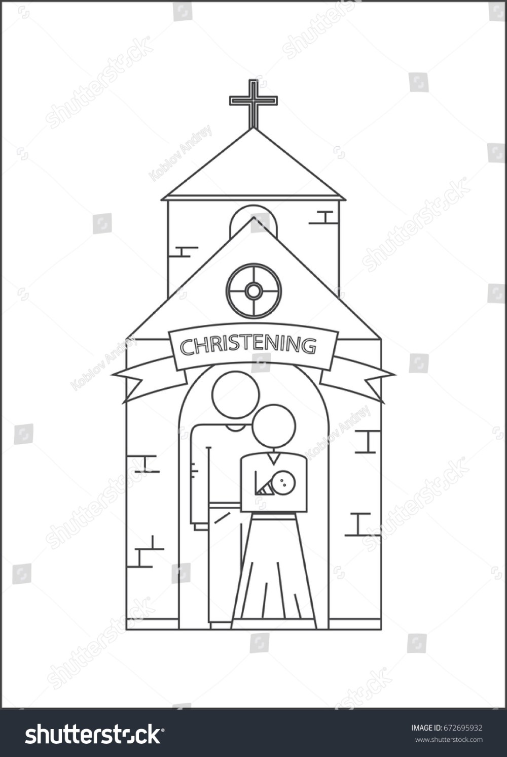 medium resolution of parents and baptism of the child godfather and godmother vector image outline style
