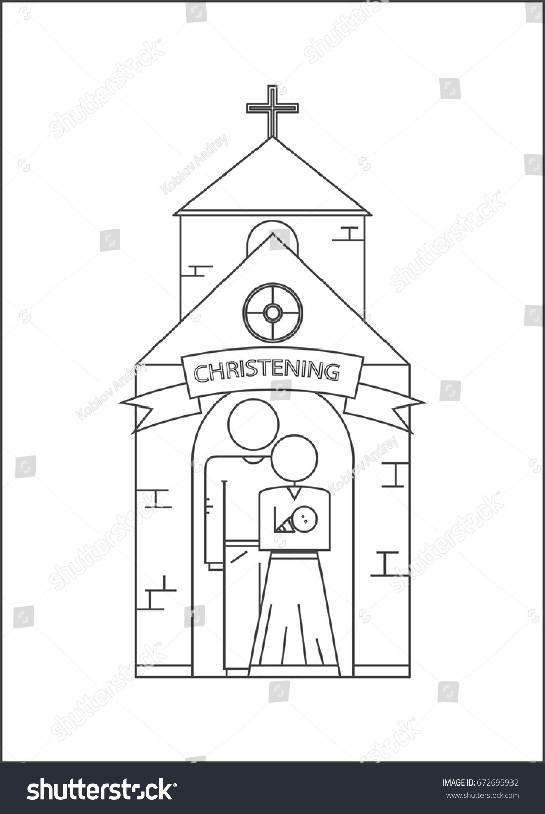 hight resolution of parents and baptism of the child godfather and godmother vector image outline style
