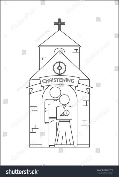 small resolution of parents and baptism of the child godfather and godmother vector image outline style