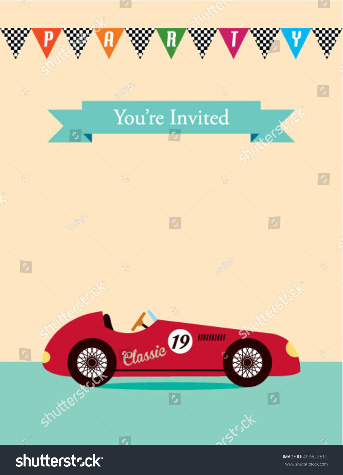 https www shutterstock com image vector party invitation card vintage racing car 499622512