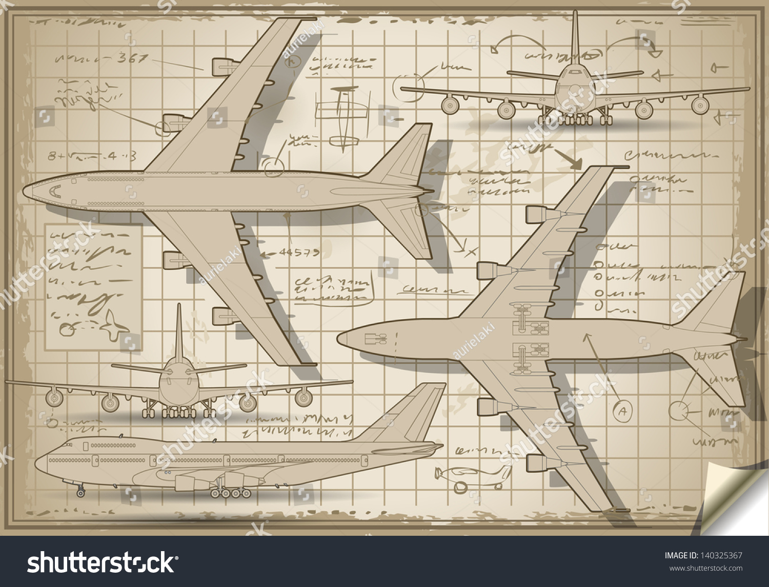hight resolution of passenger jet airplane project diagram engine orthographic views isometric aviation airplane passenger 3d isolated illustration