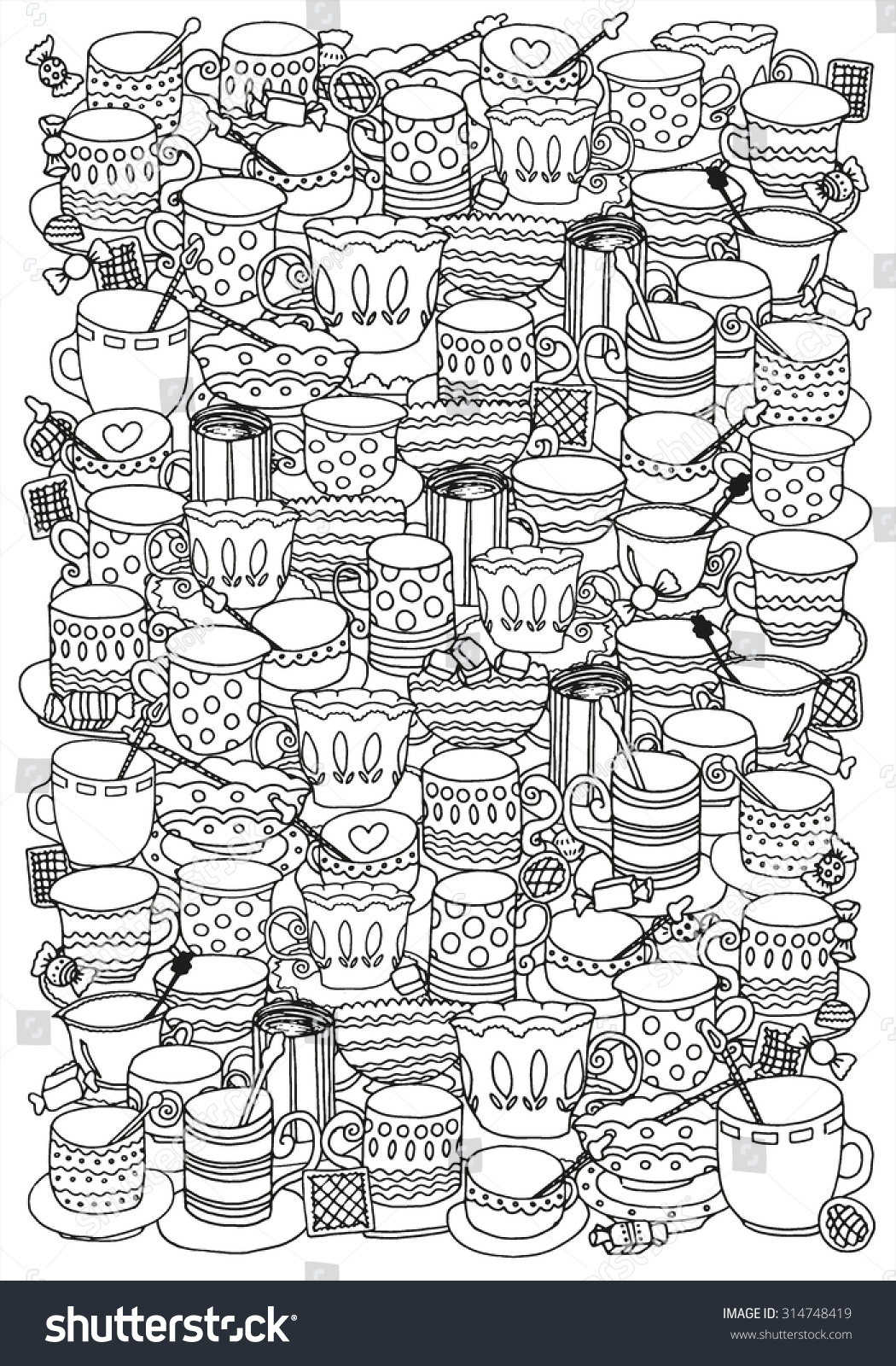 Pattern For Coloring Book With Cups And Mugs Doodle