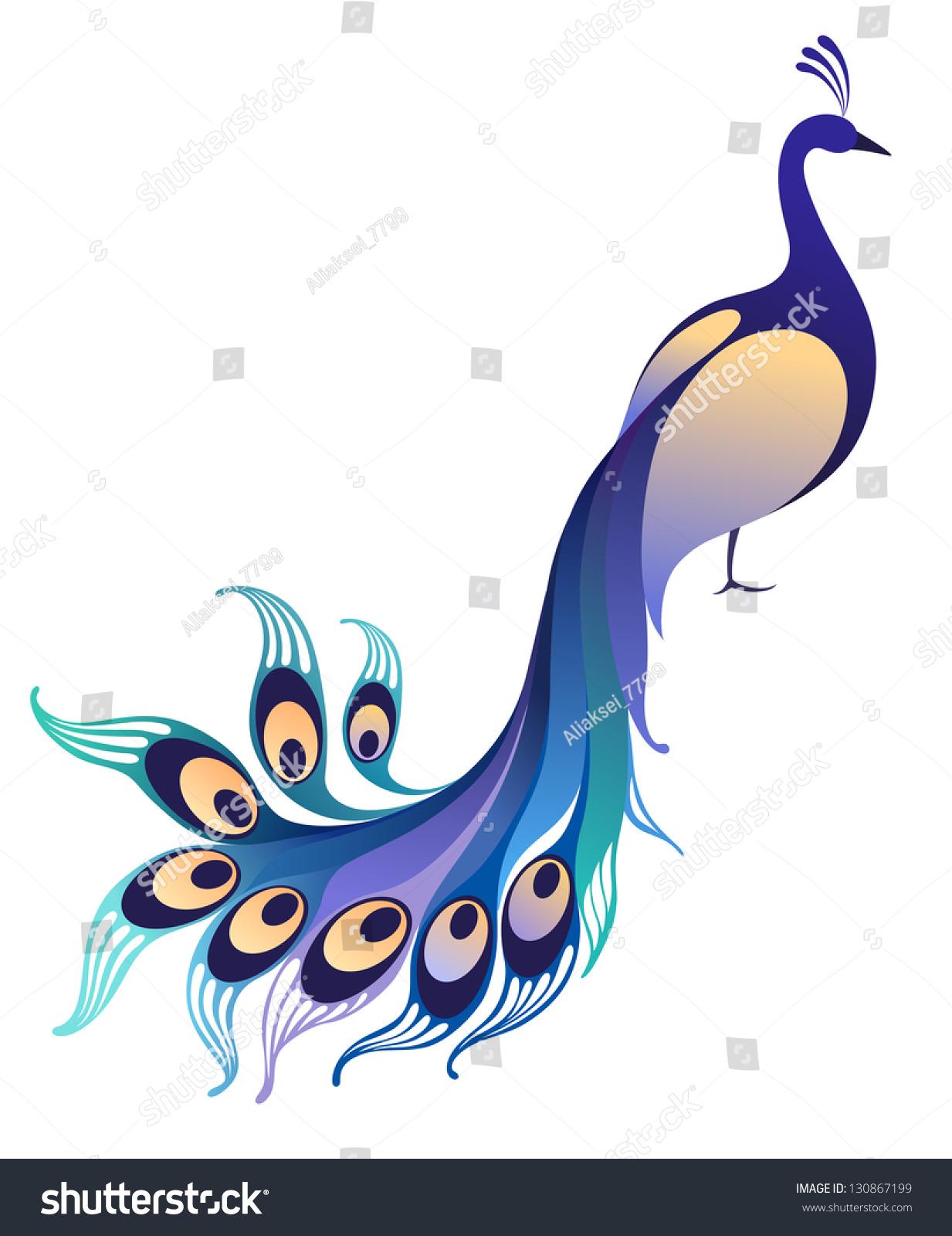 Peacock. Abstract Bird On White Background Stock Vector Illustration 130867199 : Shutterstock