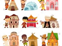 People Various Nationalities Their Traditional Houses ...