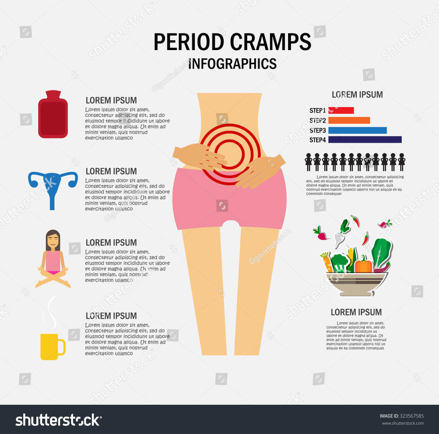 hight resolution of period cramps concept infographics vector illustration stock vector diagram of clamp on boat seat mount diagram of cramps