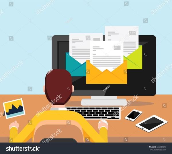 Person Reading Email Desktop Illustration Stock Vector