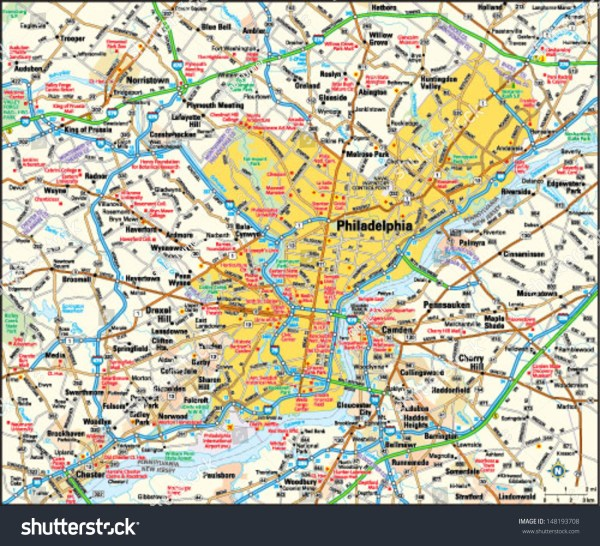 Philadelphia Pennsylvania Area Map Stock Vector 148193708