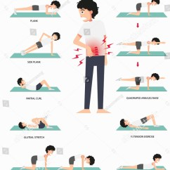 Lower Back Exercises Diagram Vz Binnacle Wiring Physical Therapy Pain Stock Vector