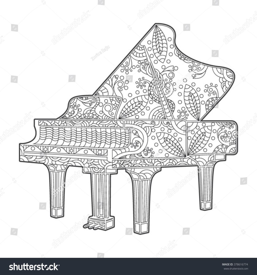 piano coloring book page adults vector stock vector