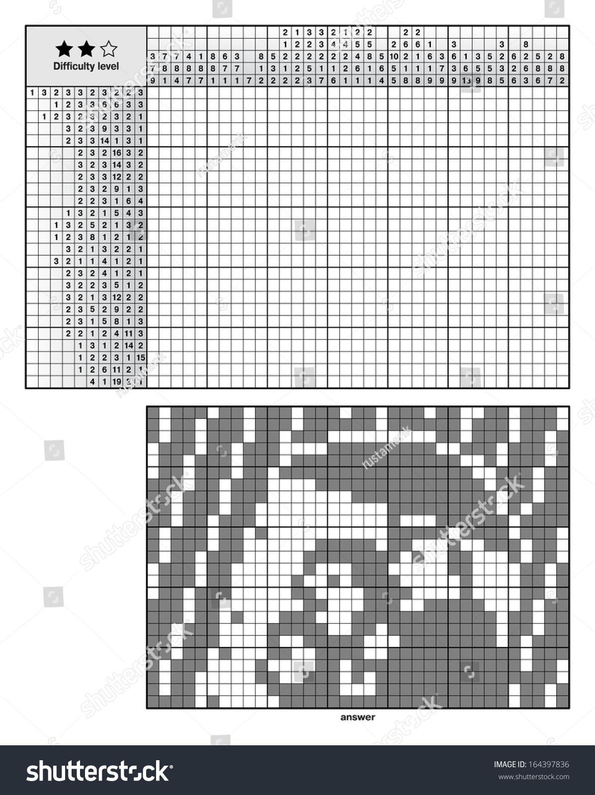 Picture Logic Puzzles Japanese Crossword Nonogram Stock Vektor