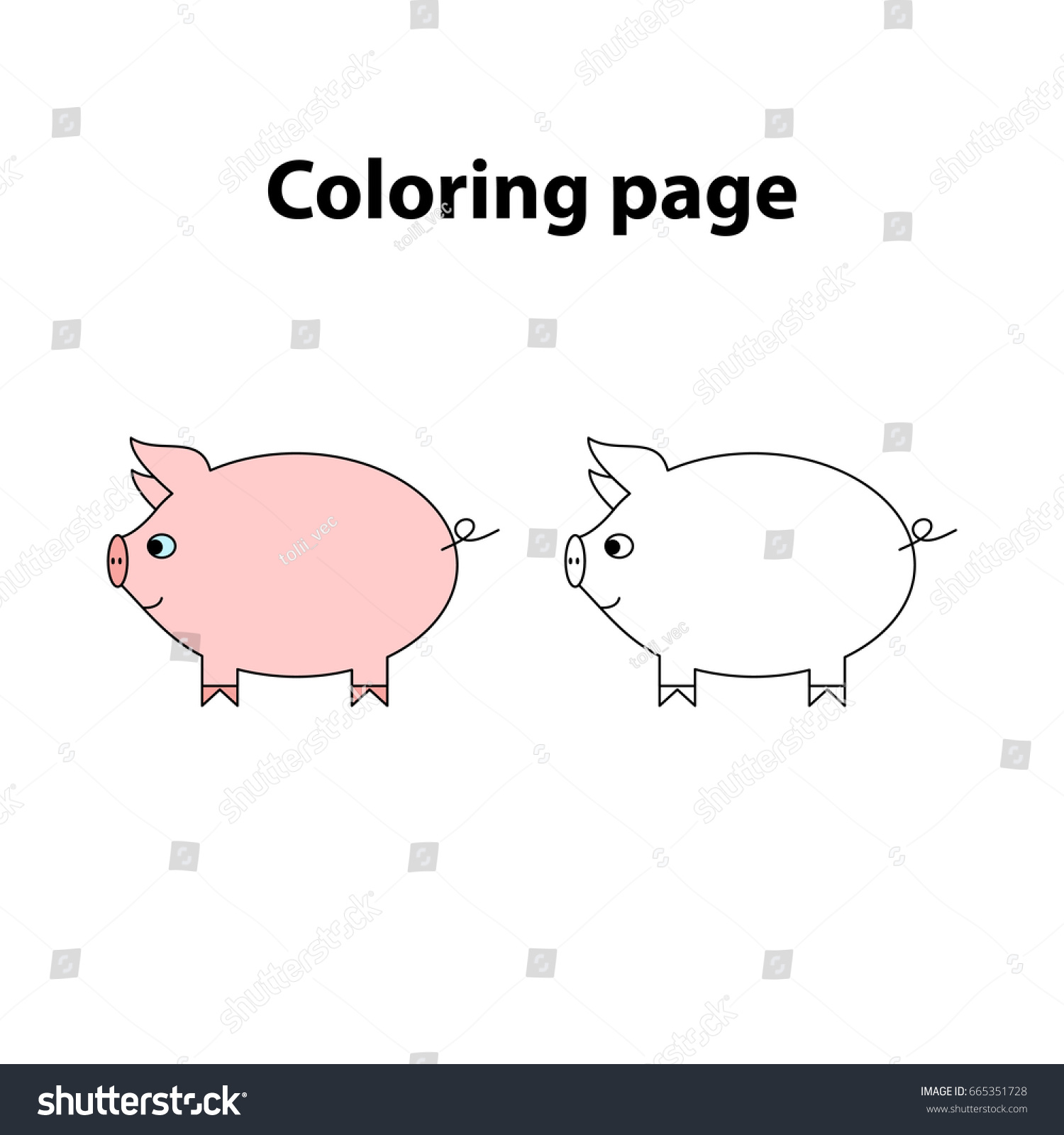hight resolution of pig painting page game for children worksheet for kids
