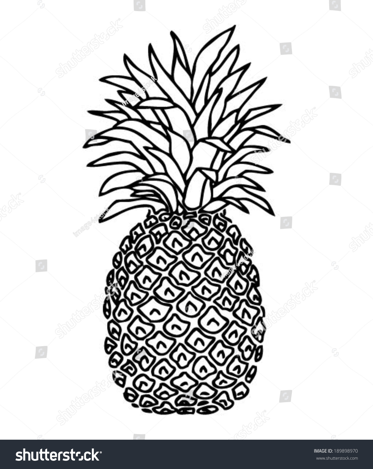 Pineapple Hand Drawn T Shirt Design Cool Doodle Vector