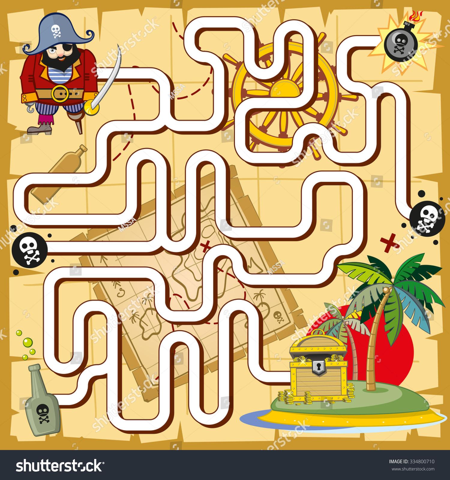 Pirate Maze Labyrinth Game Preschool Children Stock Vector