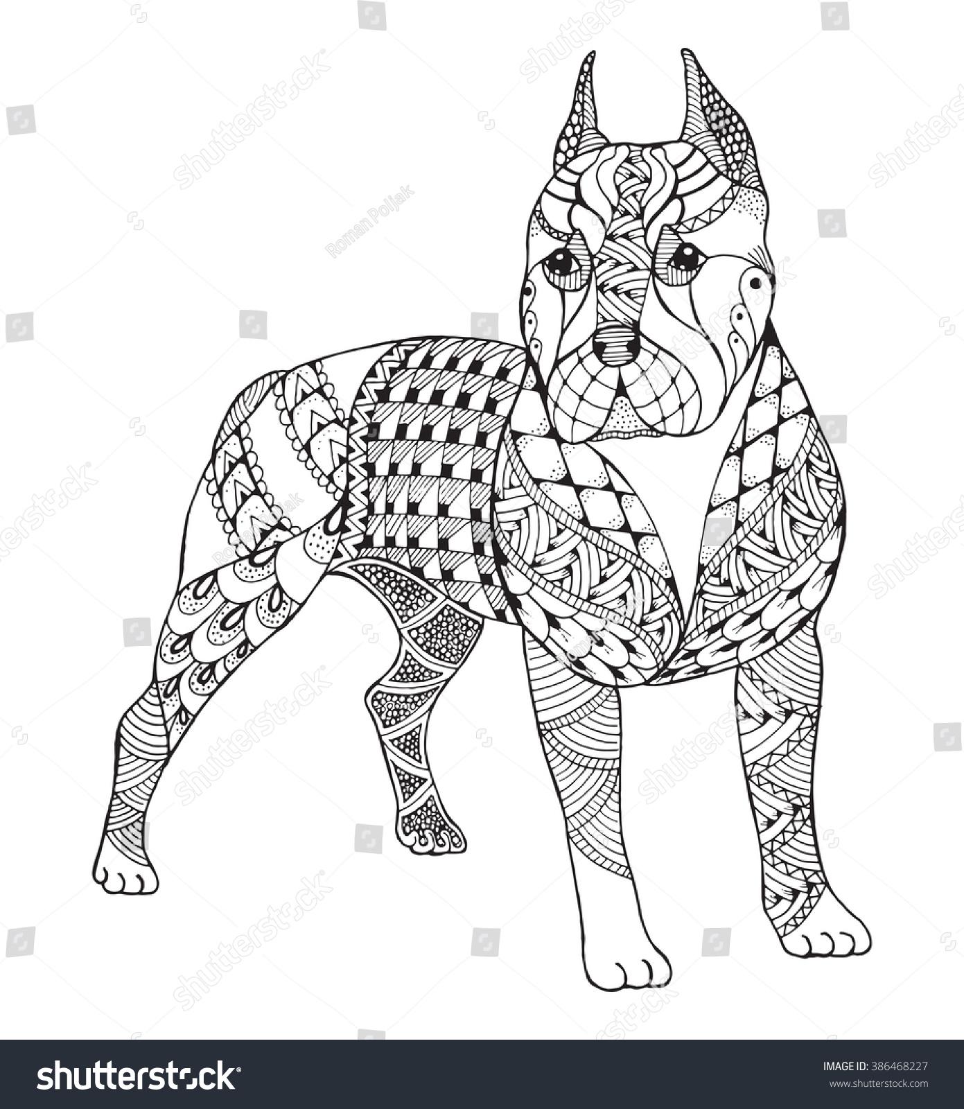 Pit Bull Terrier Zentangle Stylized Vector Stock Vector