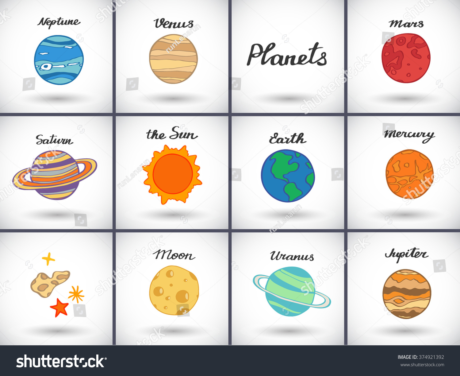 Planet Icons Set Handdrawn Cartoon Collection Stock Vector