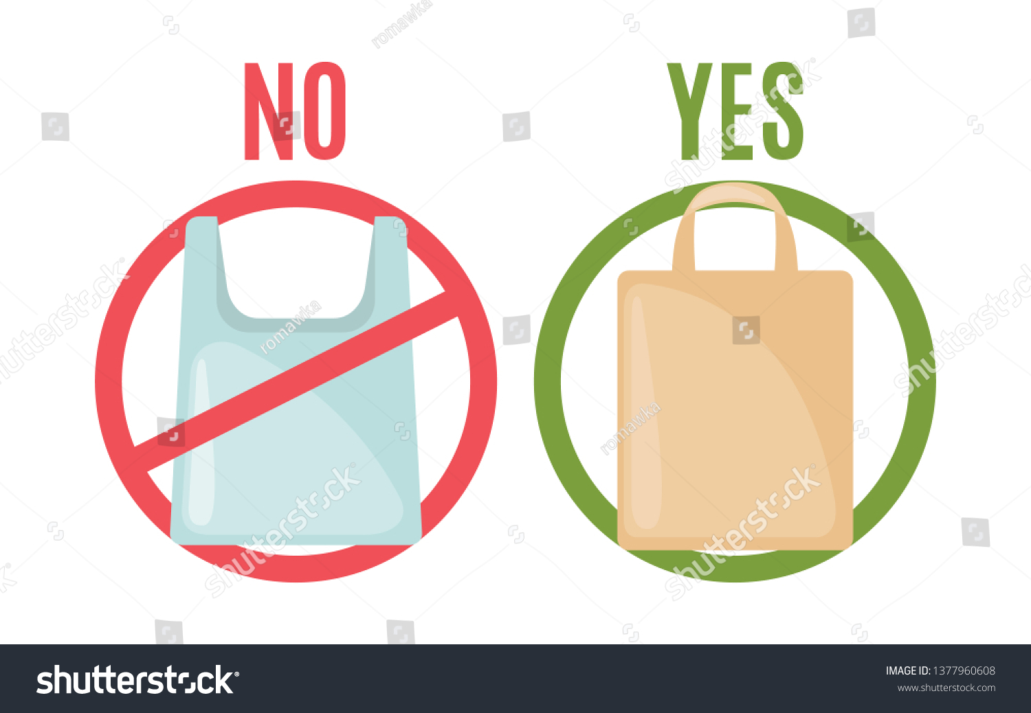 hight resolution of plastic bag and eco bag in flat style isolated on white background pollution problem concept care environment vector illustration vector