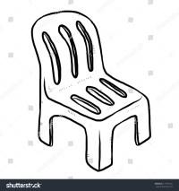 Plastic Chair Cartoon Vector Illustration Black Stock ...