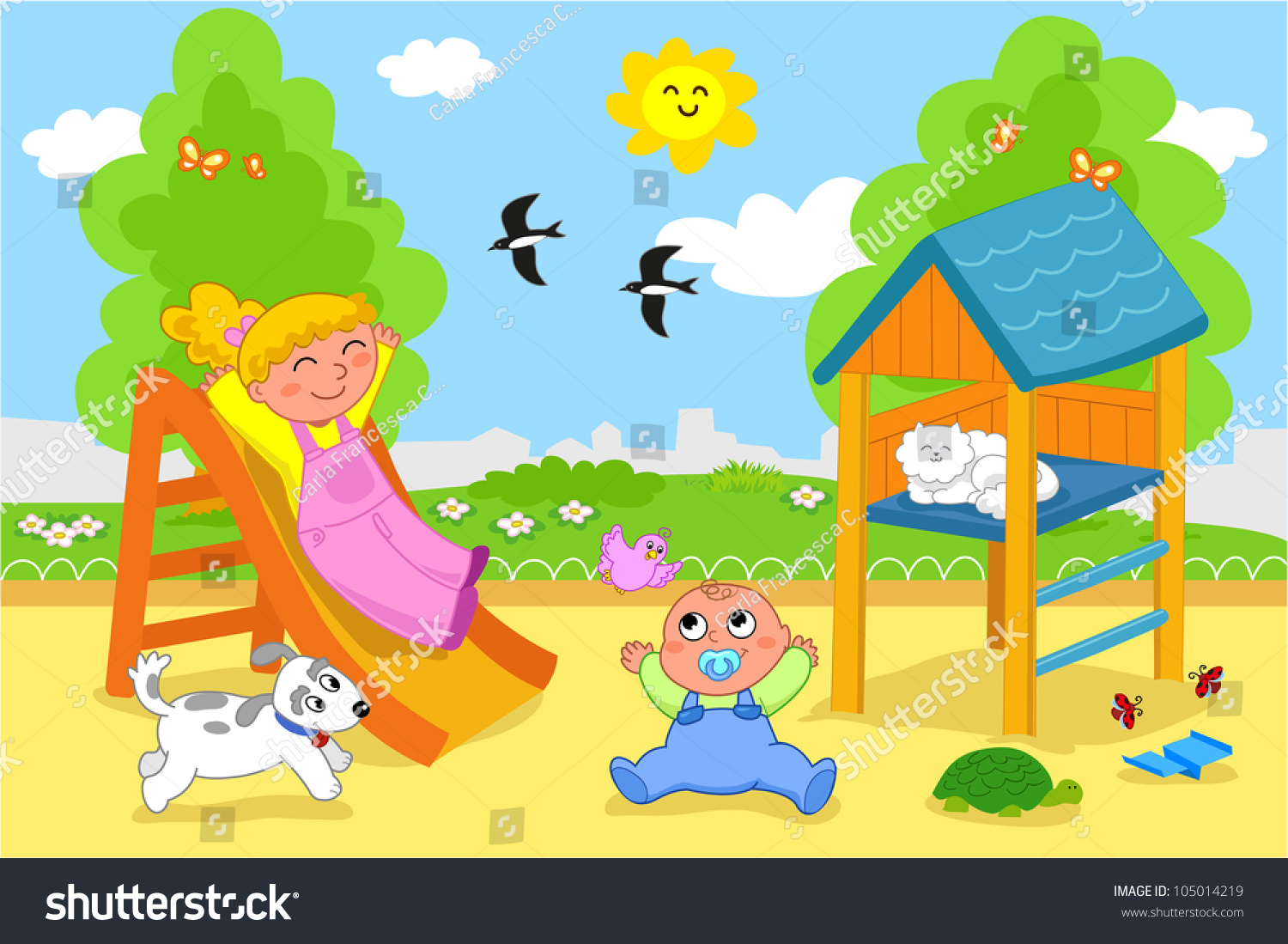 Playground Cartoon Illustration Young Girl Cute Stock
