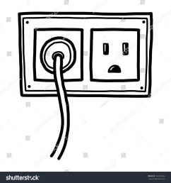 plug and electric socket cartoon vector and illustration black and white hand drawn sketch style isolated on white background  [ 1500 x 1600 Pixel ]