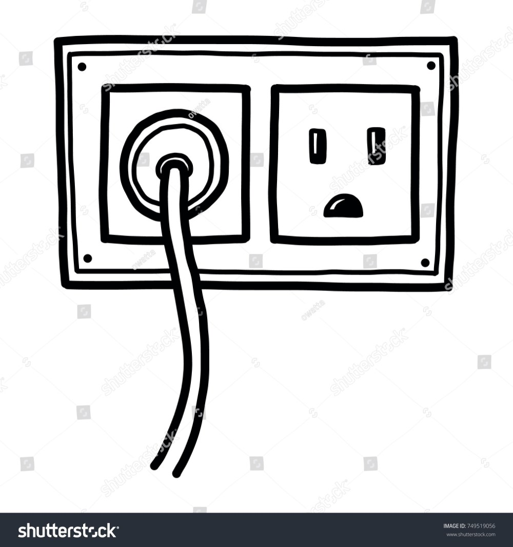 medium resolution of plug and electric socket cartoon vector and illustration black and white hand drawn sketch style isolated on white background