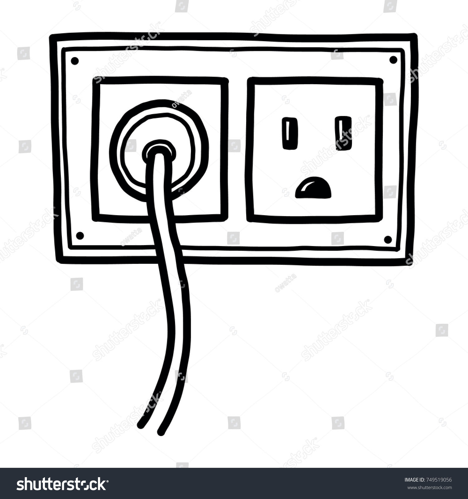 hight resolution of plug and electric socket cartoon vector and illustration black and white hand drawn sketch style isolated on white background