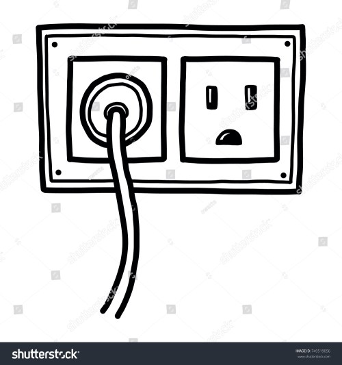 small resolution of plug and electric socket cartoon vector and illustration black and white hand drawn sketch style isolated on white background