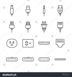 plug and socket line icon set included the icons as electrical plug usb  [ 1500 x 1600 Pixel ]