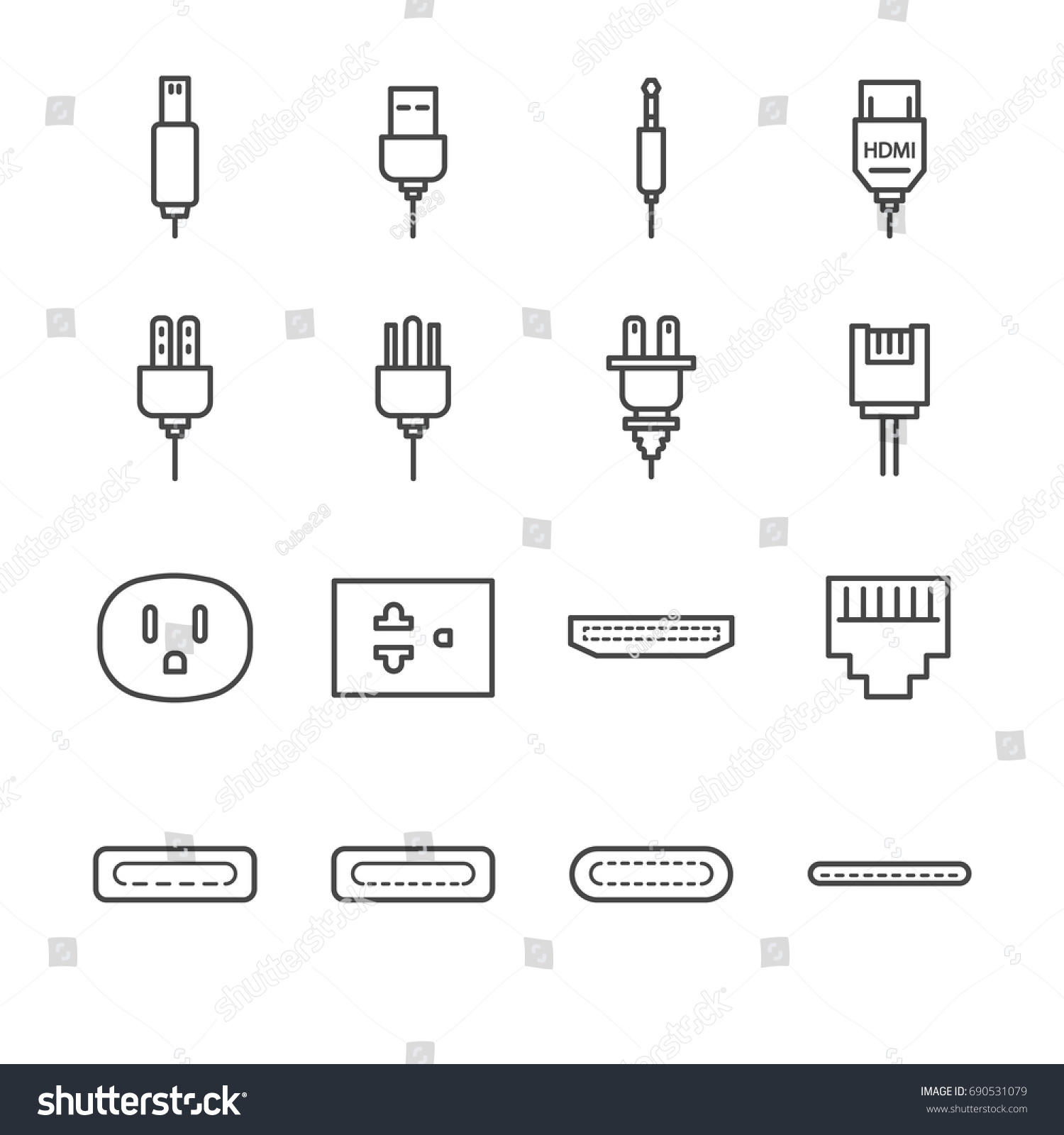 hight resolution of plug and socket line icon set included the icons as electrical plug usb