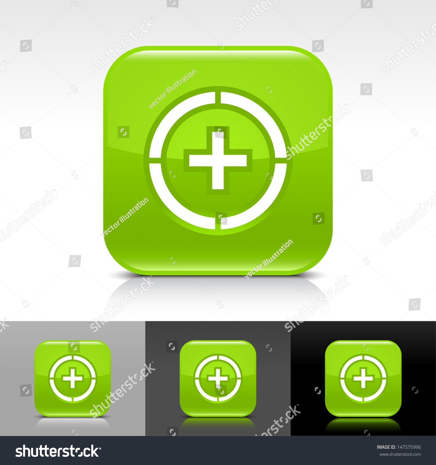 Plus In Circle Icon Green Color Glossy Web Button With
