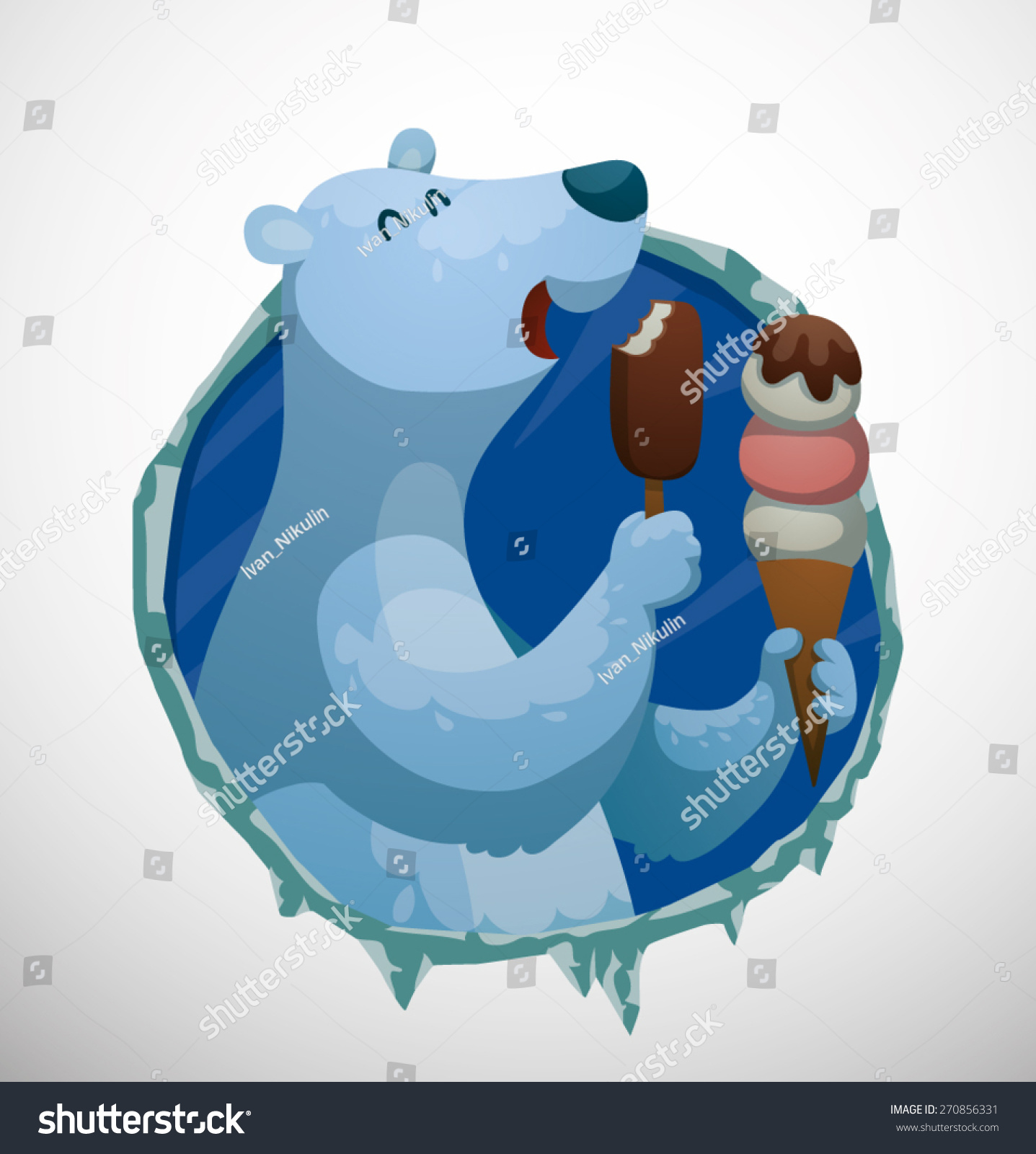 Polar Bear Label Ice Cream Vector Stock Vector