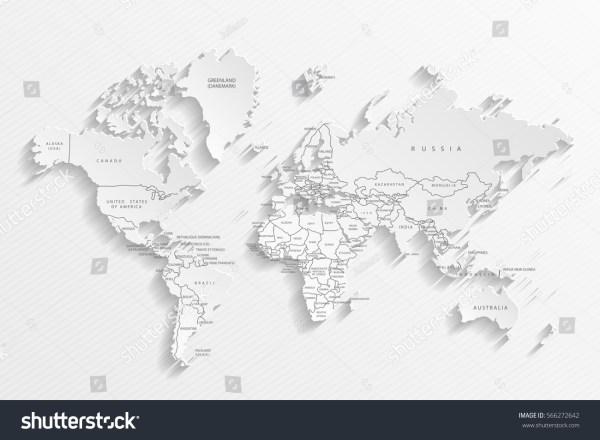 Political Map World Gray World Mapcountries Stock Vector