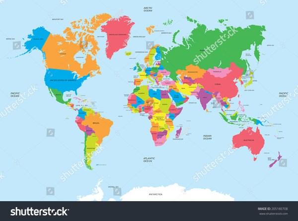 Political Map World Vector Stock Vector 205180708