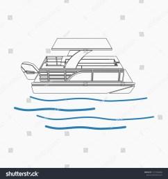 pontoon boat vector illustration in outline style [ 1500 x 1600 Pixel ]