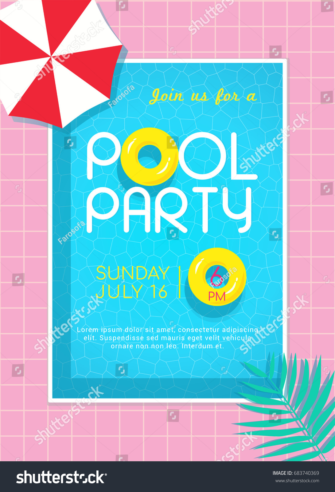 Pool Party Invitation Vector Illustration, Top View Of Swimming Pool With  Yellow Rubber Ring Floating