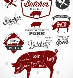 pork cuts diagram and butchery design elements in vintage style [ 1200 x 1600 Pixel ]