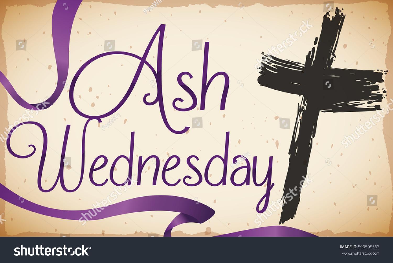 Poster Traditional Ash Cross Purple Ribbon Stock Vector