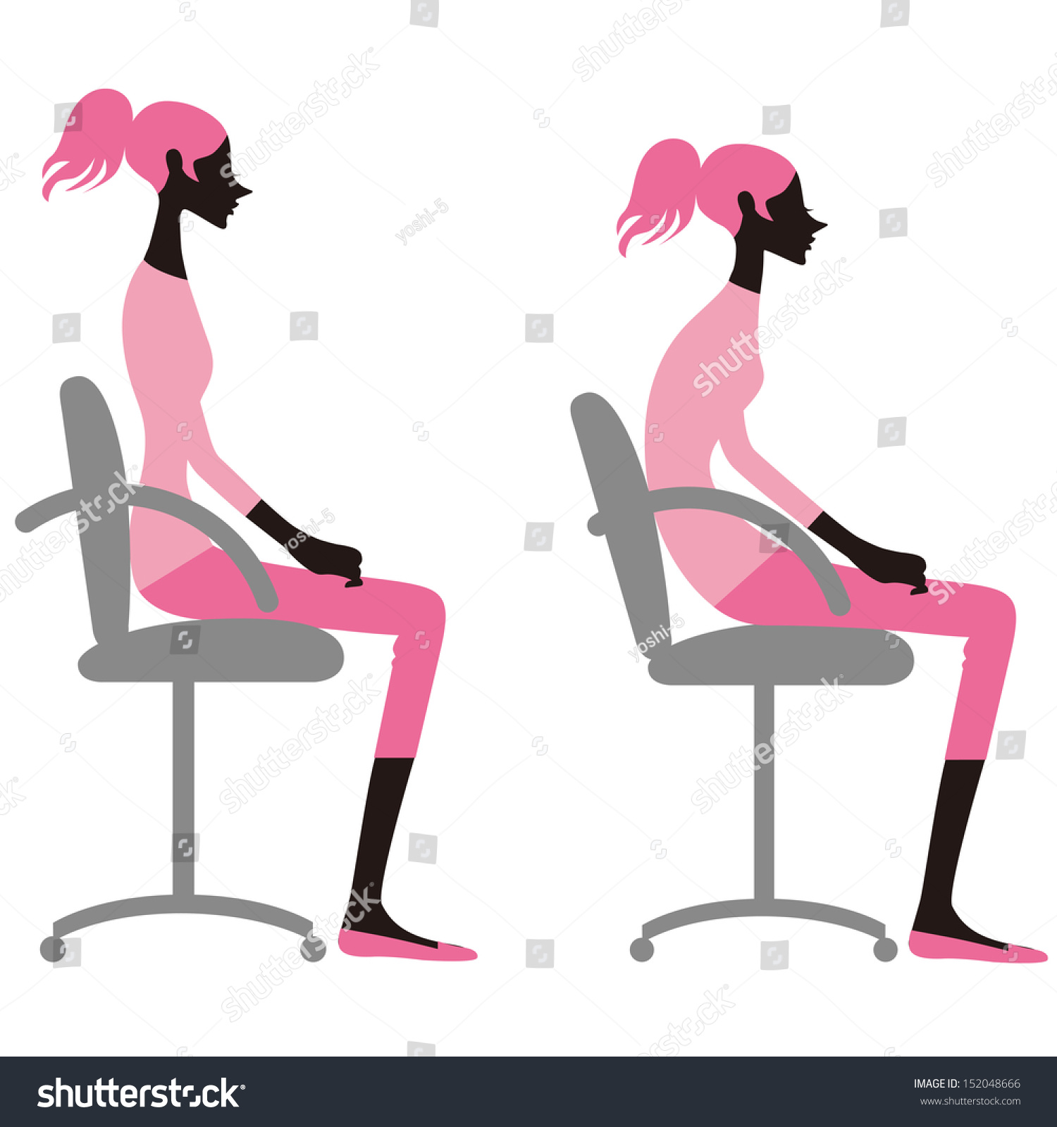 posture chair sitting desk won't stay up to sit down on stock vector illustration