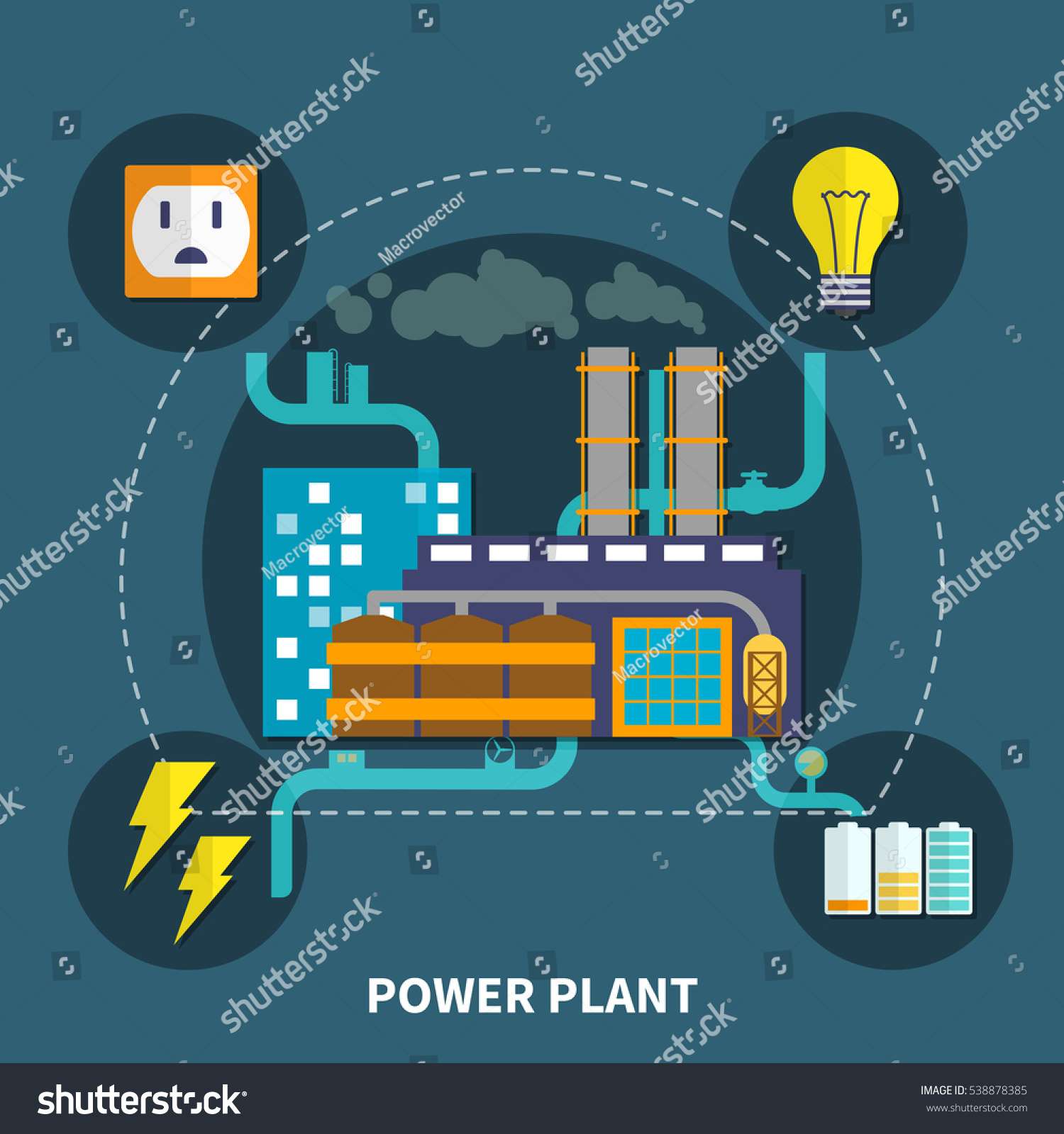 hight resolution of power plant layout with bulb and other abstract vector illustration