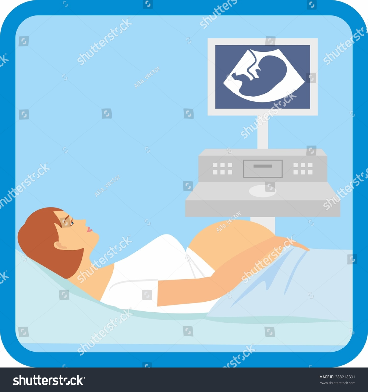 hight resolution of pregnant woman lying on the couch vector illustration of a pregnant doing ultrasonography