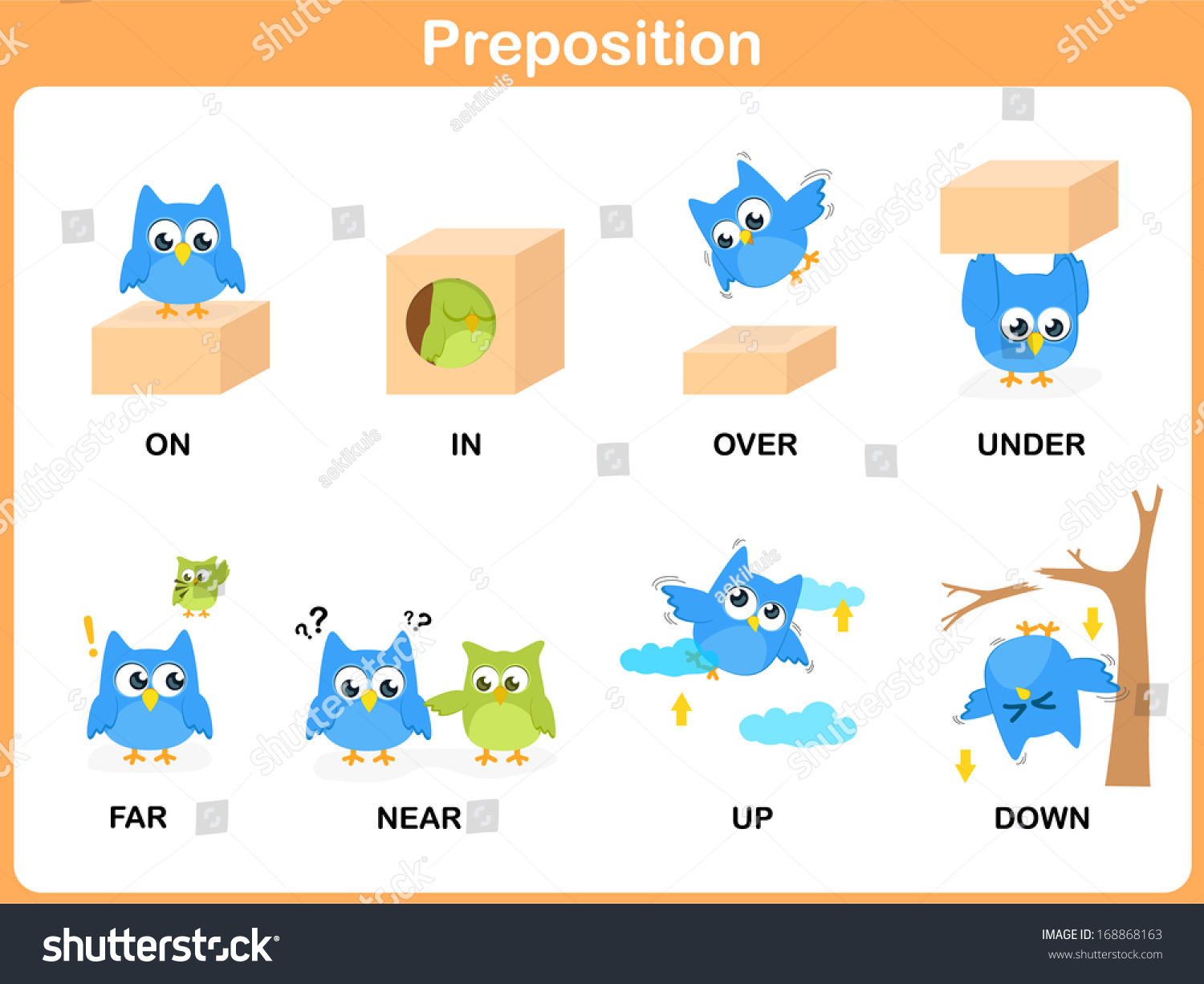 Preposition Motion Preschool Stock Vector