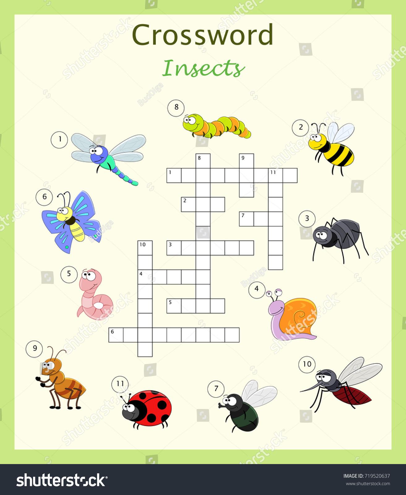 Preschool Worksheet Crossword Children Cartoon Insects