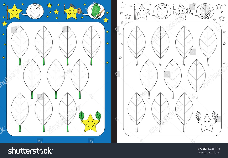 Preschool Worksheet Practicing Fine Motor Skills Stock