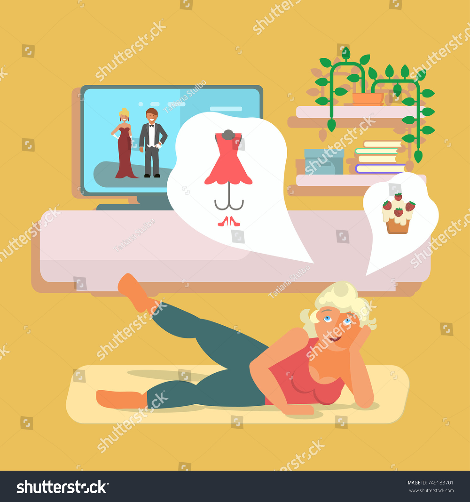 Pretty Girl Doing Fitness Exercises Home Stock Vector Royalty Free 749183701