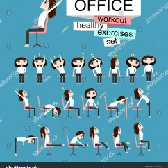 Office Chair Exercises 4moms High Pretty Girl Doing On Stock Vector Royalty Free Is The Woman In Healthy Poses Set