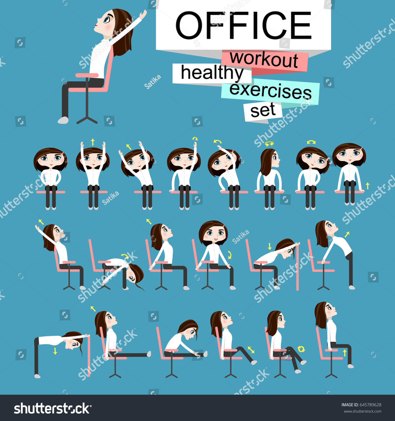 Office Chair Exercises Pretty Girl Doing Exercises On Office Stock Vector