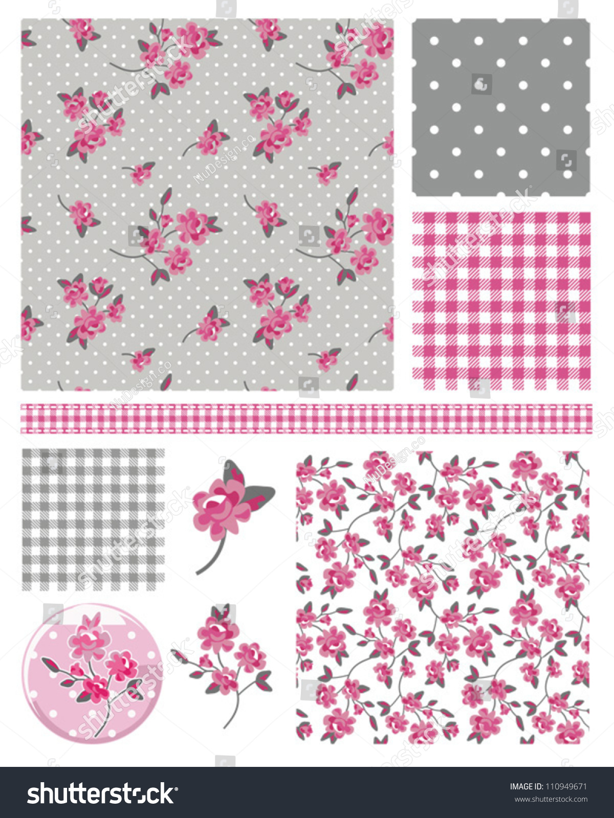 Pretty Shabby Chic Floral Vector Seamless Patterns And