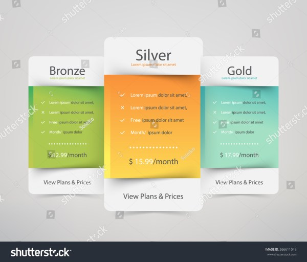 Pricing Plans Websites And Applications. Hosting Table Banner. Vector Illustration