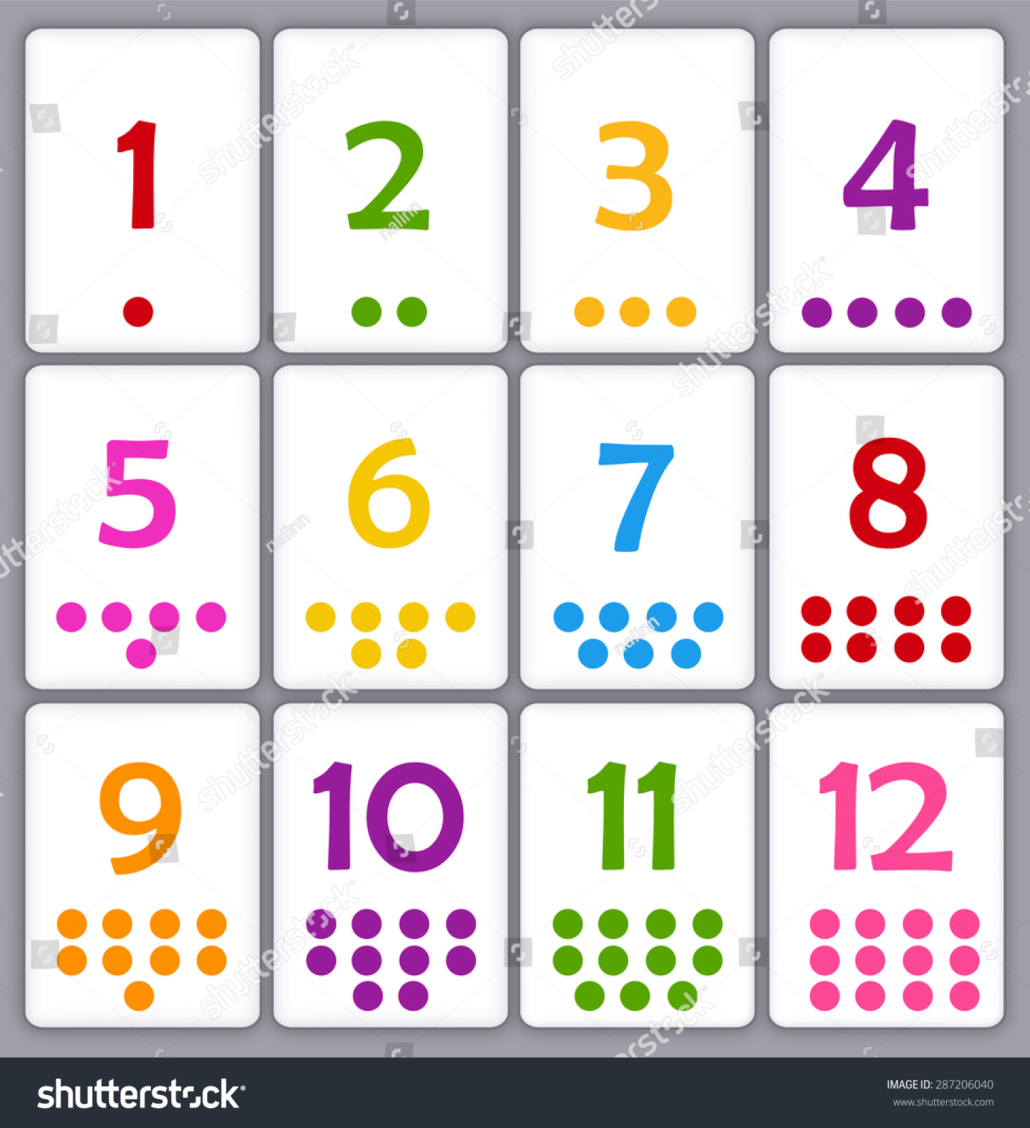 Printable Flash Card Collection For Numbers With Dots For