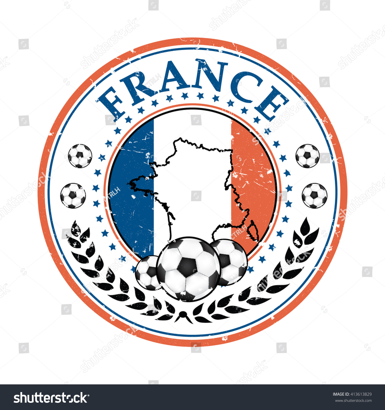 Printable Grunge France Soccer Label Containing Stock